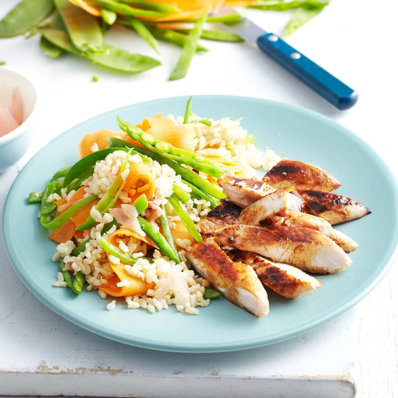 Photo of Teriyaki chicken with brown rice and pickled ginger salad by WW