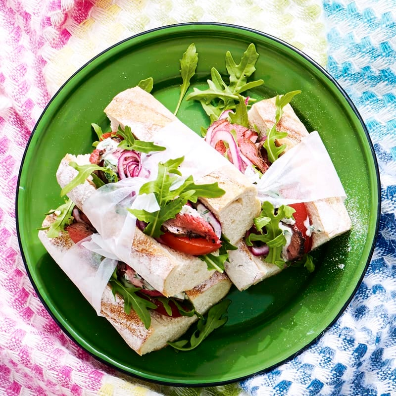 Photo of Rare roast pepper beef baguettes with pickled onions, herb cream and rocket by WW