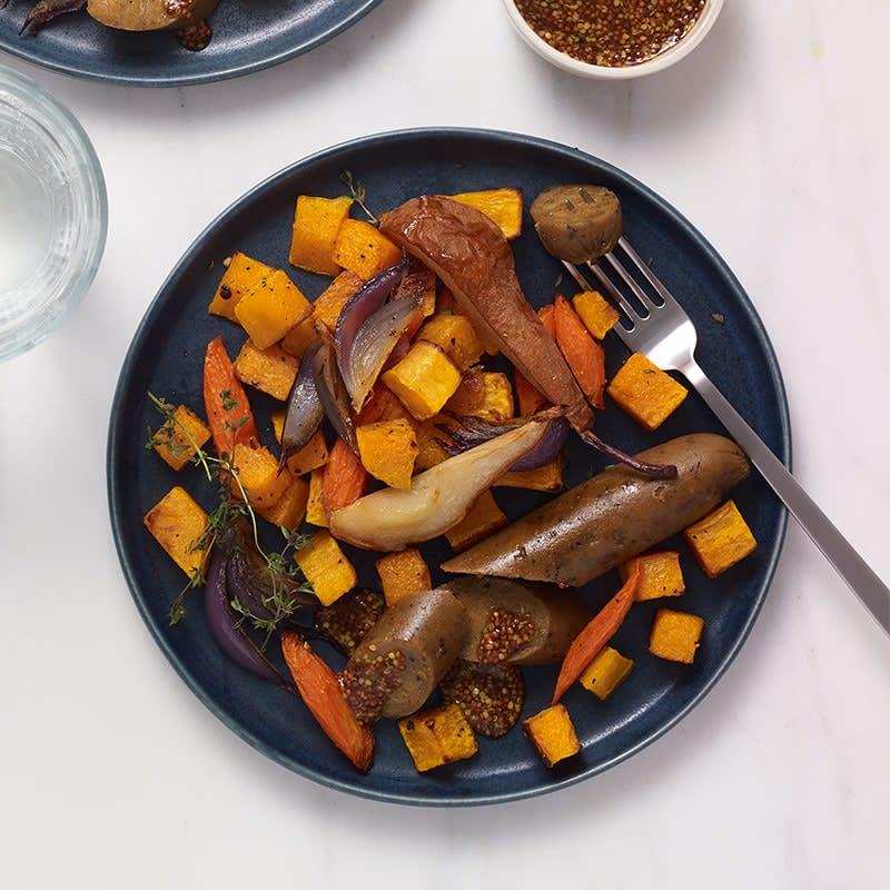 Photo of Maple-mustard vegan sausage tray bake by WW