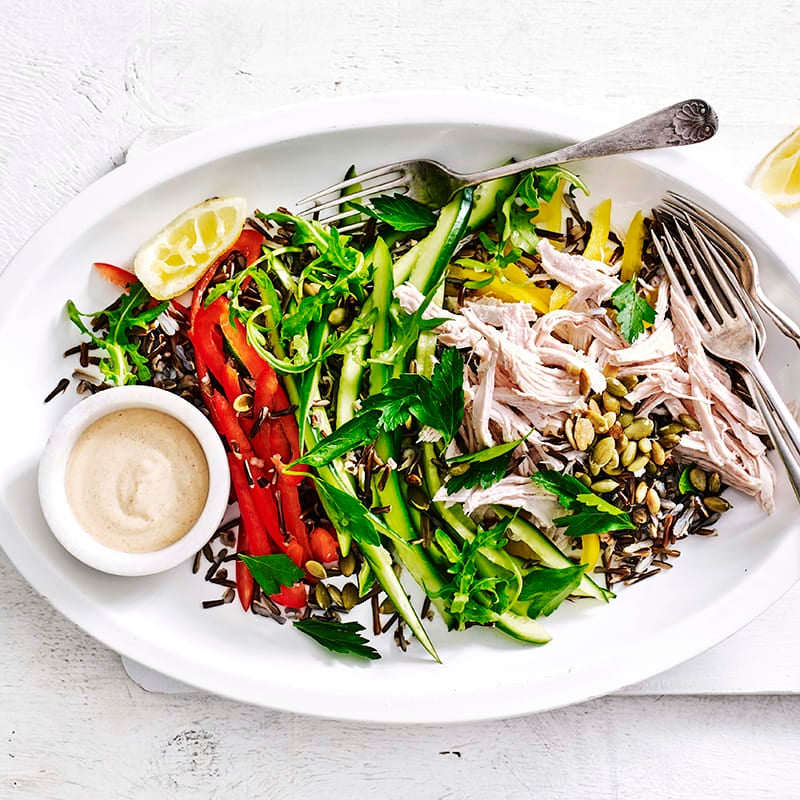 Photo of Poached chicken and wild rice salad with tahini dressing by WW