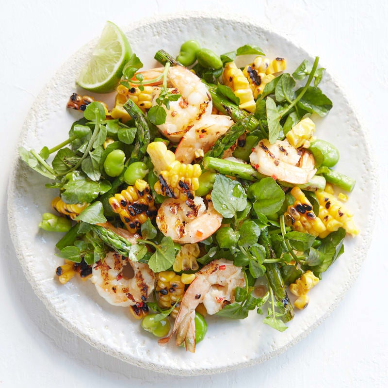 Photo of Prawn salad with broad beans, charred corn, watercress and chipotle dressing by WW