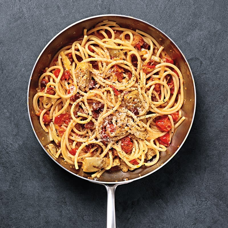 Photo of Spaghetti all'Amatriciana with artichokes by WW