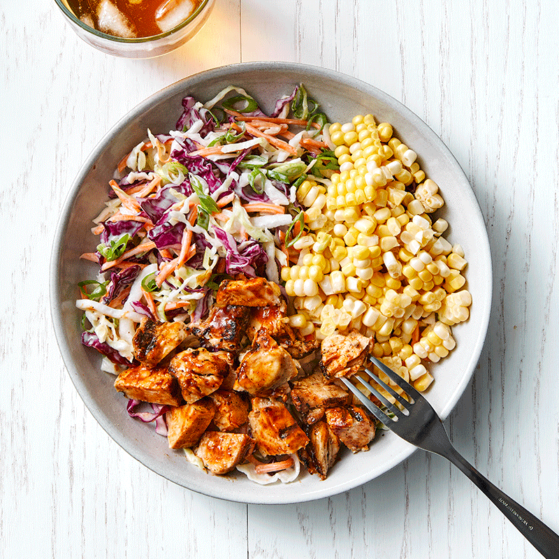 Photo of BBQ chicken, corn and slaw salad by WW