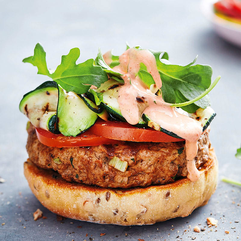 Photo of Open lamb burger with spicy capsicum dressing by WW
