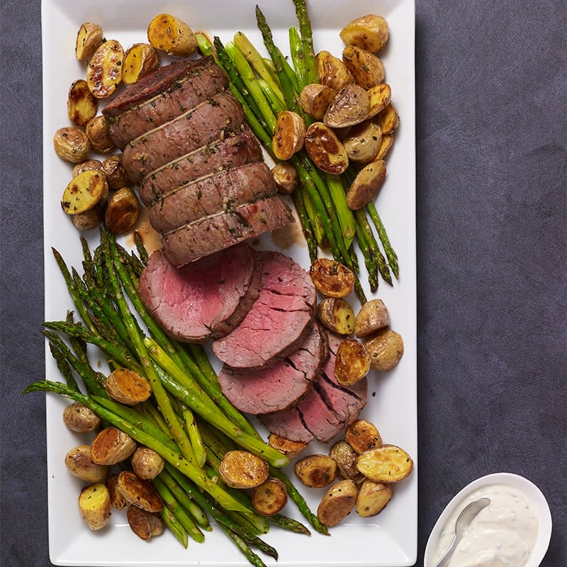 Photo of Beef tenderloin with potatoes, asparagus and horseradish cream by WW
