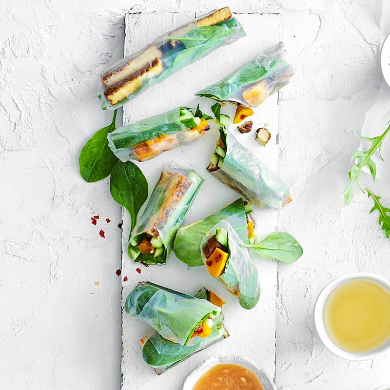 Photo of Roasted pumpkin, tofu, spinach and peanut rice paper rolls by WW