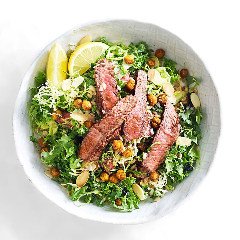 Photo of Steak with kale, barley and roasted chickpeas by WW
