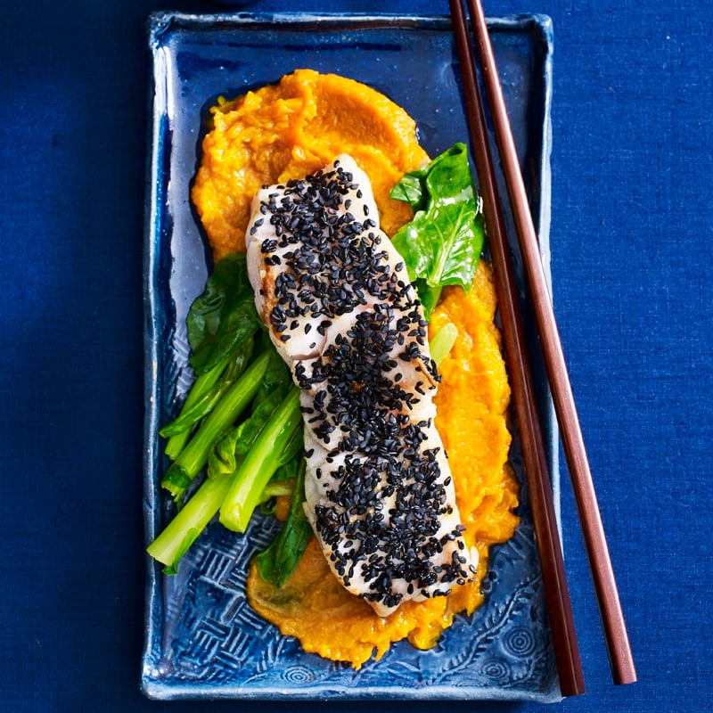 Photo of Miso pumpkin with black sesame fish by WW