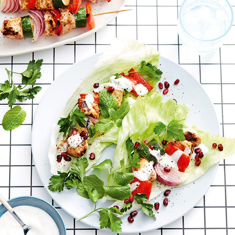 Photo of Mediterranean chicken skewers with pomegranate and mint yoghurt by WW