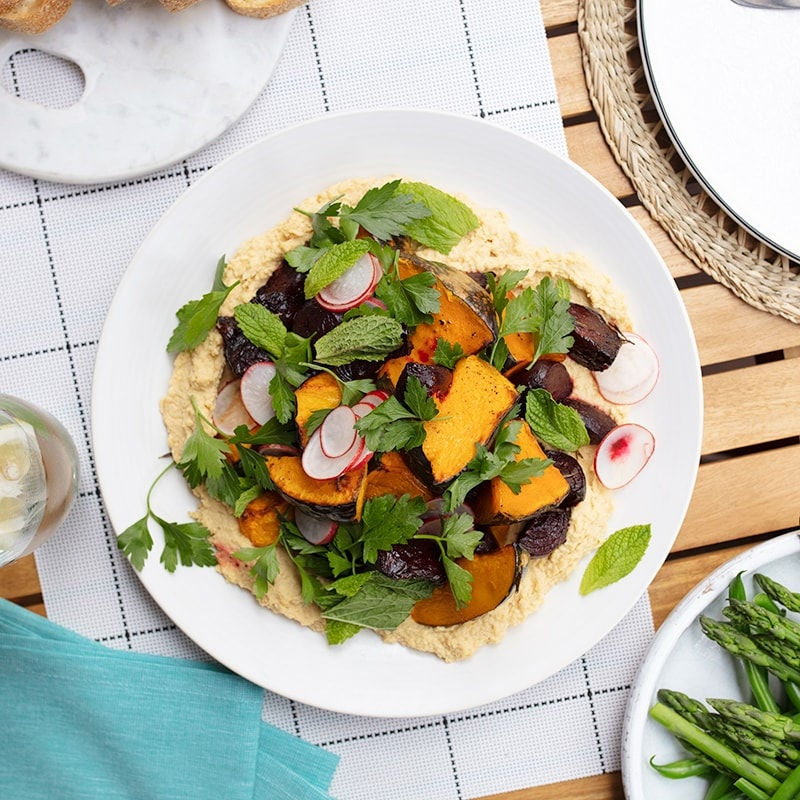 Photo of Roasted beetroot and pumpkin salad with hummus by WW