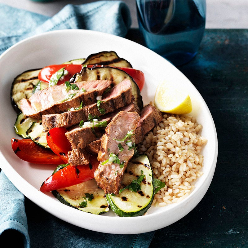 Photo of Harissa lamb with grilled vegetables and lemon dressing by WW