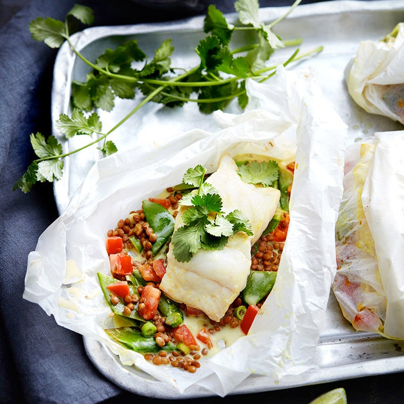 Photo of Spiced coconut fish parcels with lentils by WW