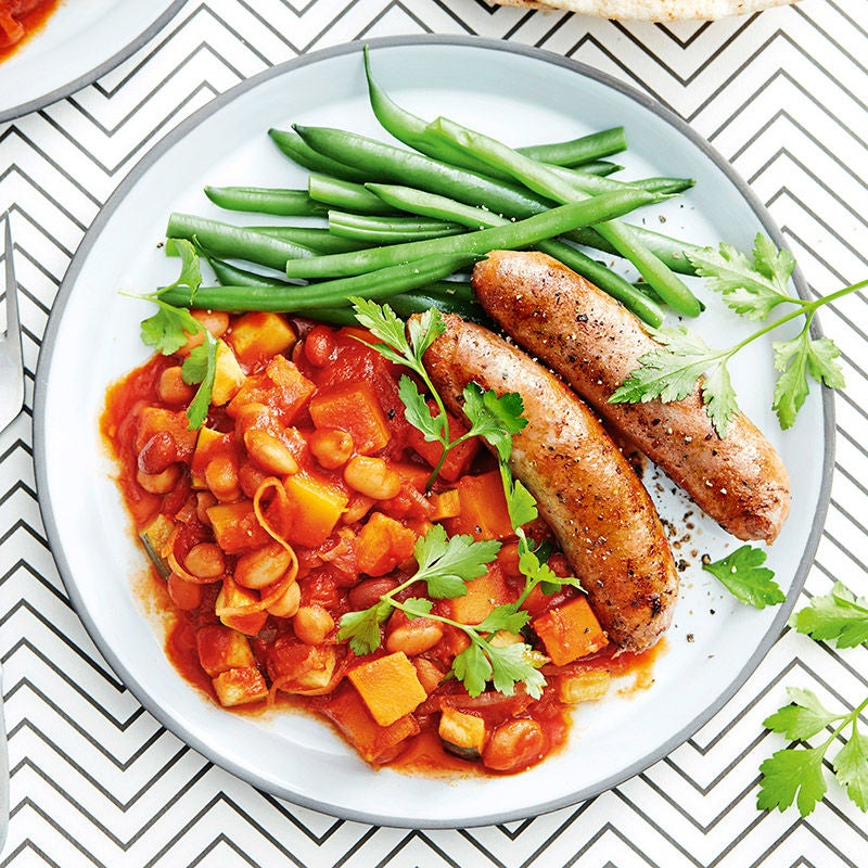 Photo of Sausages with maple-pumpkin baked beans by WW