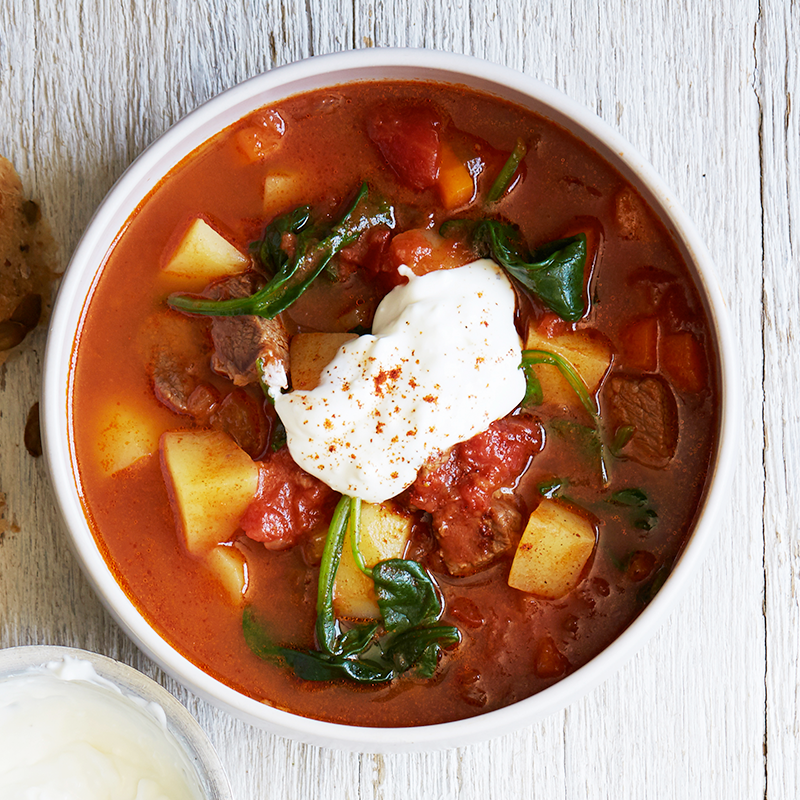 Photo of Slow cooked beef and paprika soup with sour cream by WW
