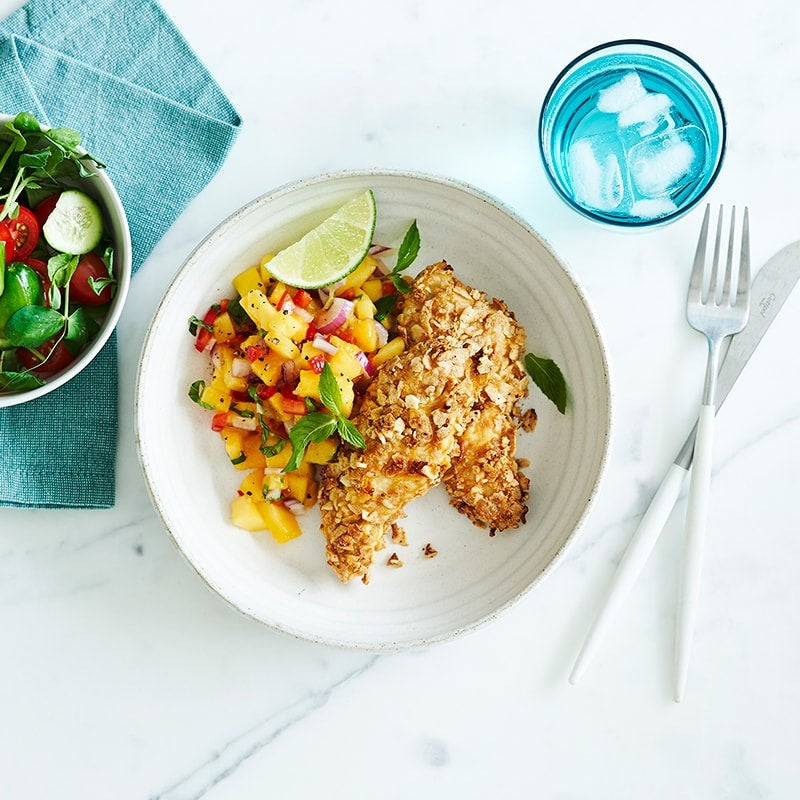 Photo of Chip-crusted chicken with mango salsa by WW