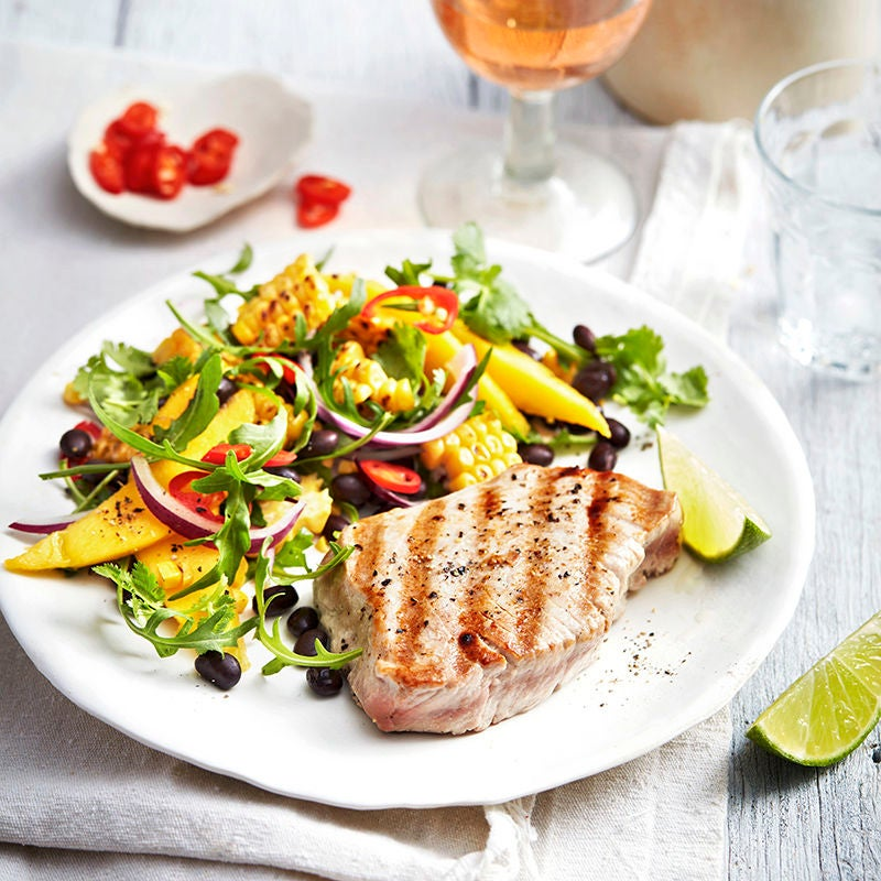 Photo of Chargrilled tuna with black bean, mango and lime salad by WW