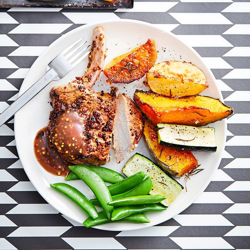 Photo of Balsamic and mustard pork cutlets with roasted vegies by WW