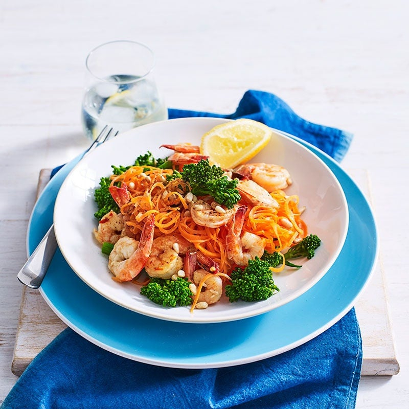 Photo of Carrot zoodles with chilli prawns and broccolini by WW