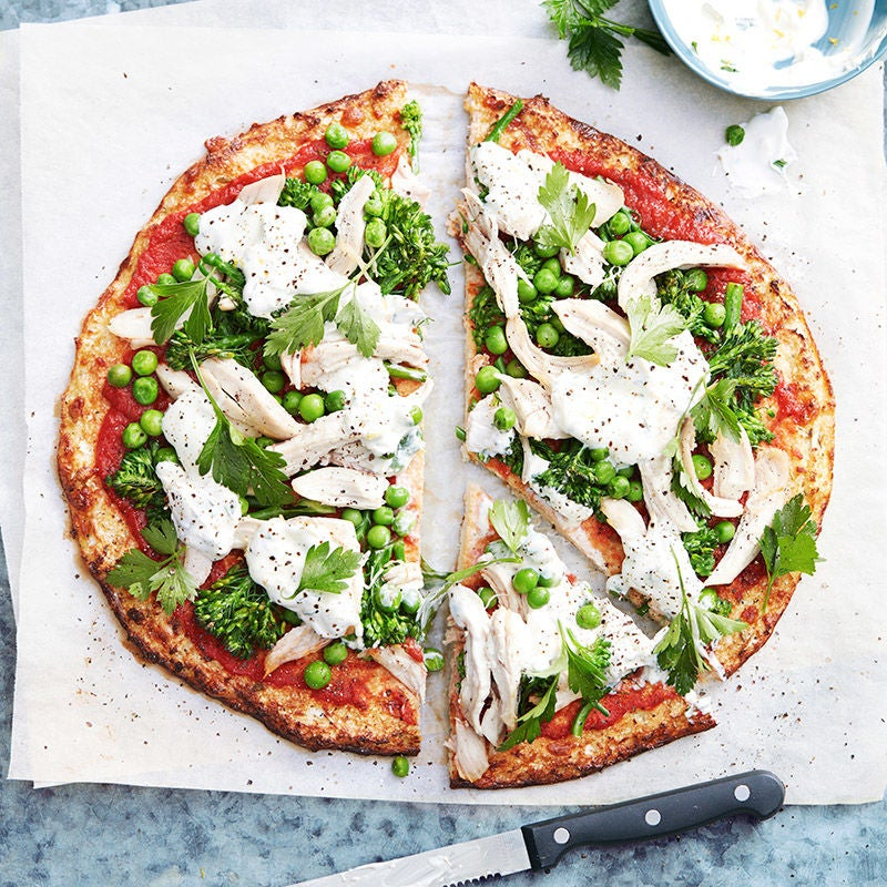 Photo of Cauliflower pizza with broccolini and peas by WW