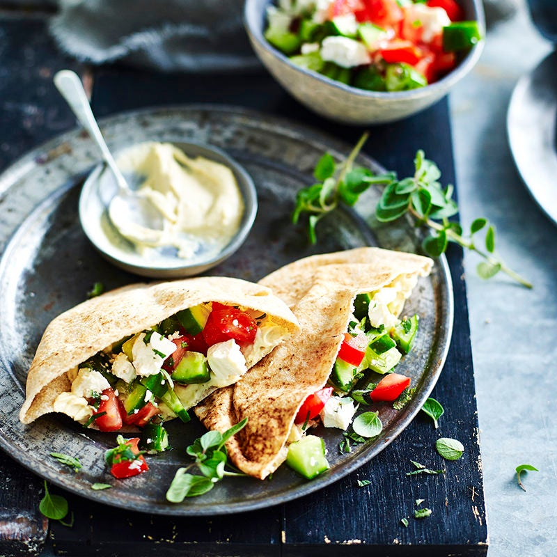 Photo of Hummus, tomato, cucumber and feta pockets by WW