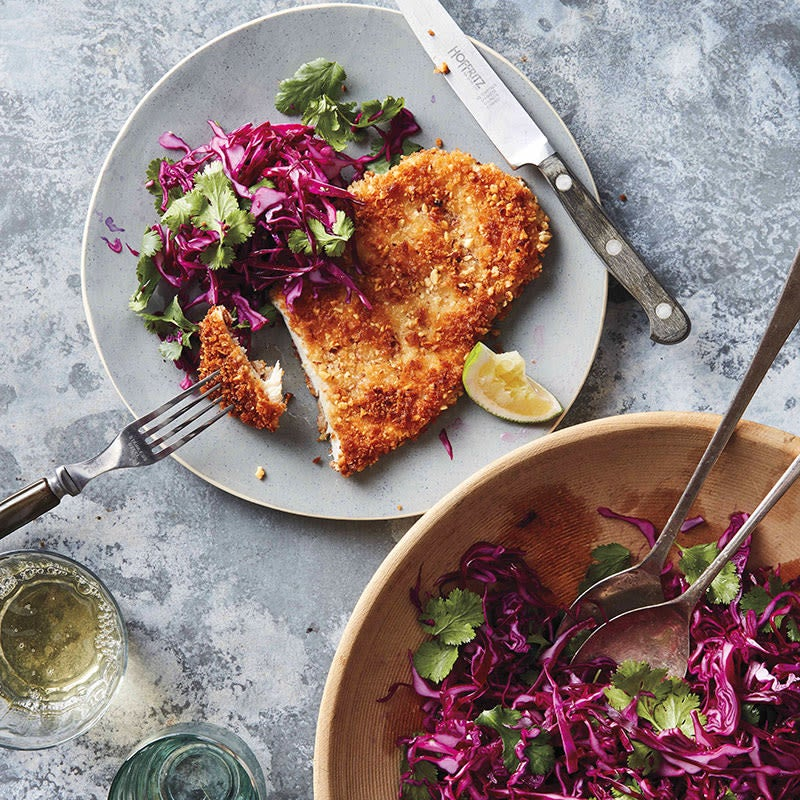 Photo of Almond chicken schnitzel with tangy coleslaw by WW