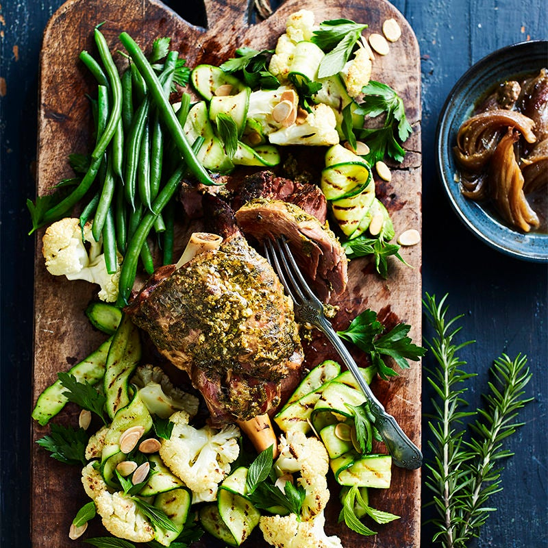 Photo of Slow-roasted lamb leg with rosemary and caper crust by WW