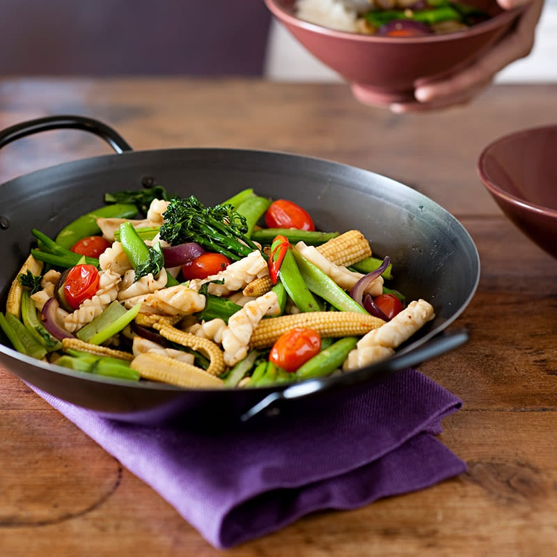 Photo of Garlic chilli squid and vegetable stir fry by WW