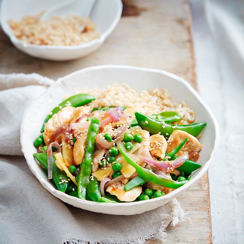Photo of Sesame chicken and mixed pea stir-fry by WW