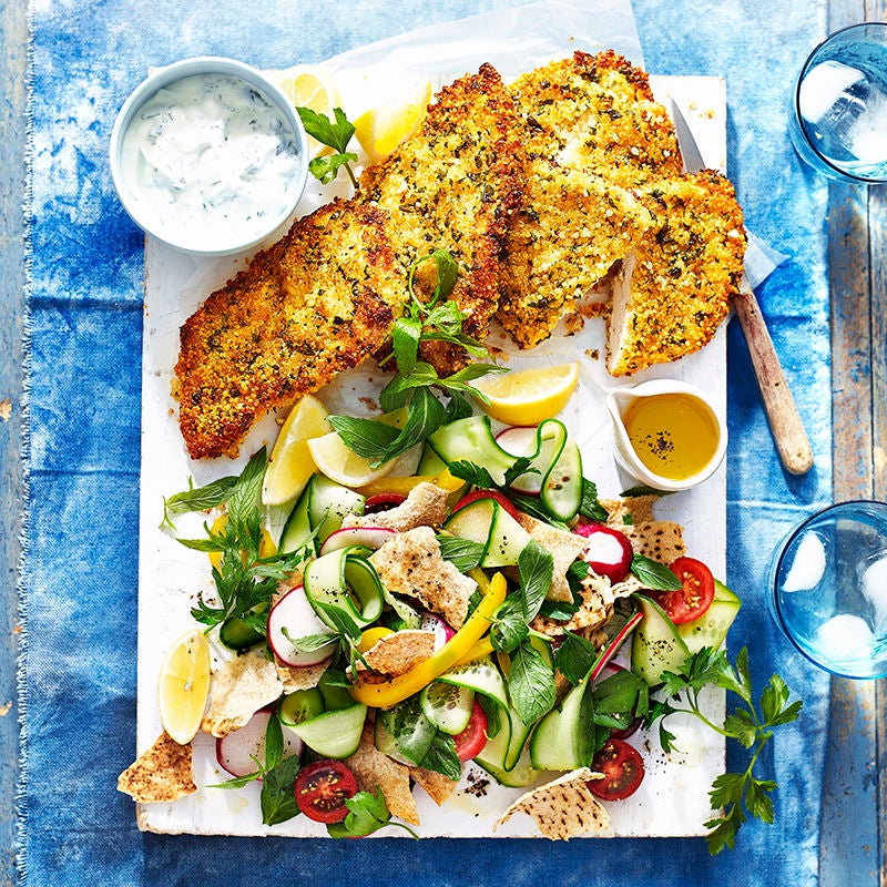 Photo of Quinoa and herb  schnitzel with fattoush by WW