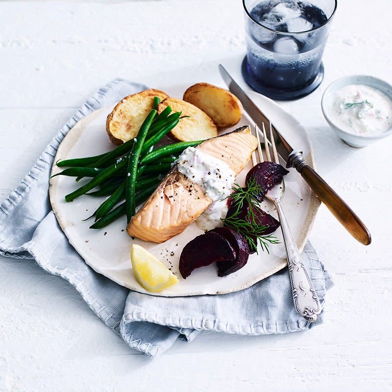 Photo of Air fryer crispy salmon with roasted beetroot and tartare sauce by WW