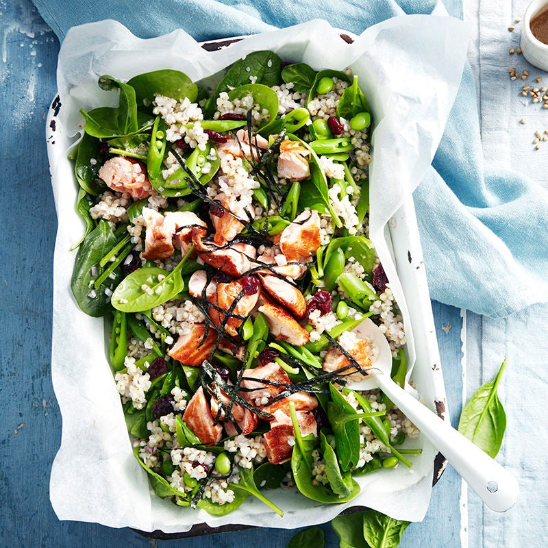 Photo of Buckwheat salad with salmon, edamame and ginger dressing by WW