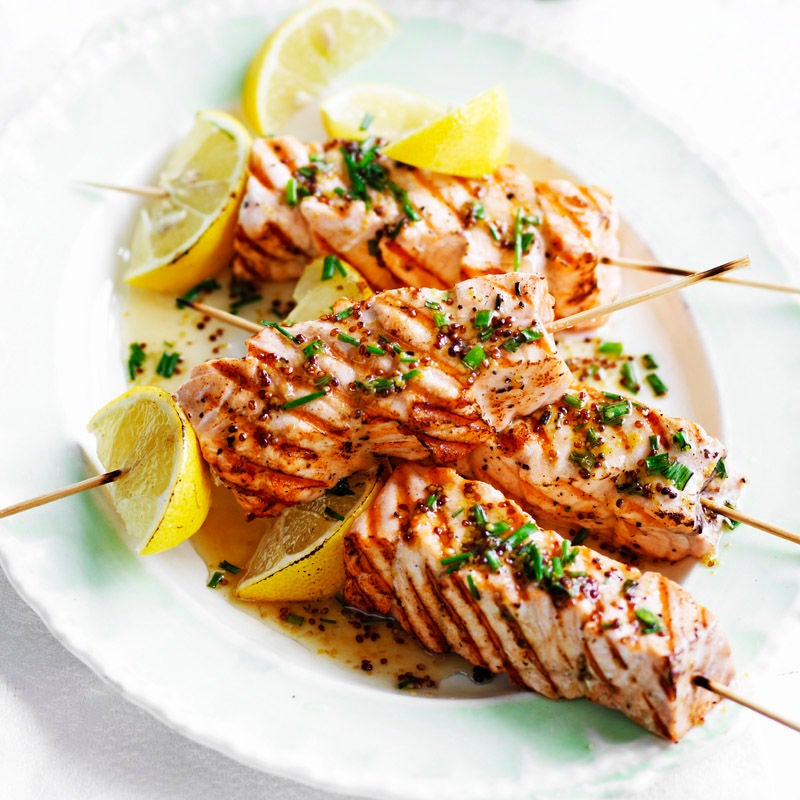 Photo of Salmon skewers with honey mustard dressing by WW