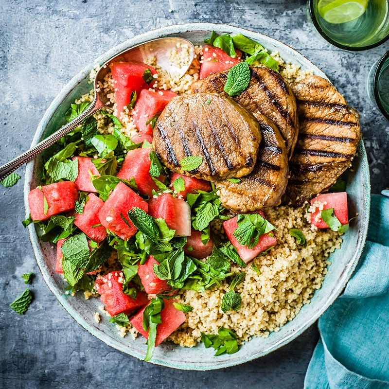 Photo of Chargrilled pork steaks with watermelon salad by WW