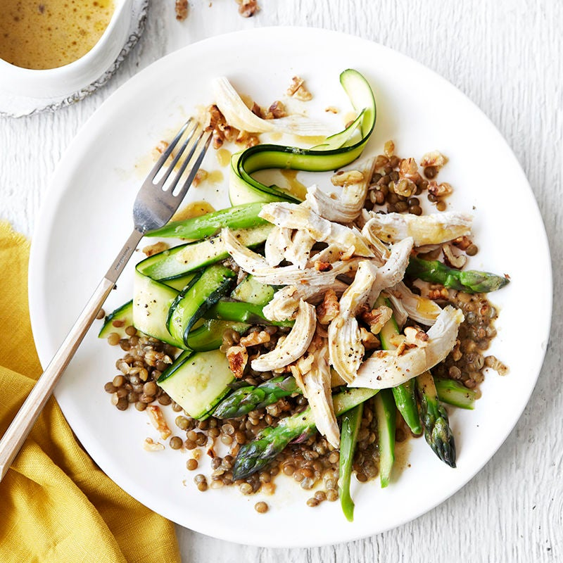 Photo of Poached chicken with French lentils, zucchini and asparagus by WW