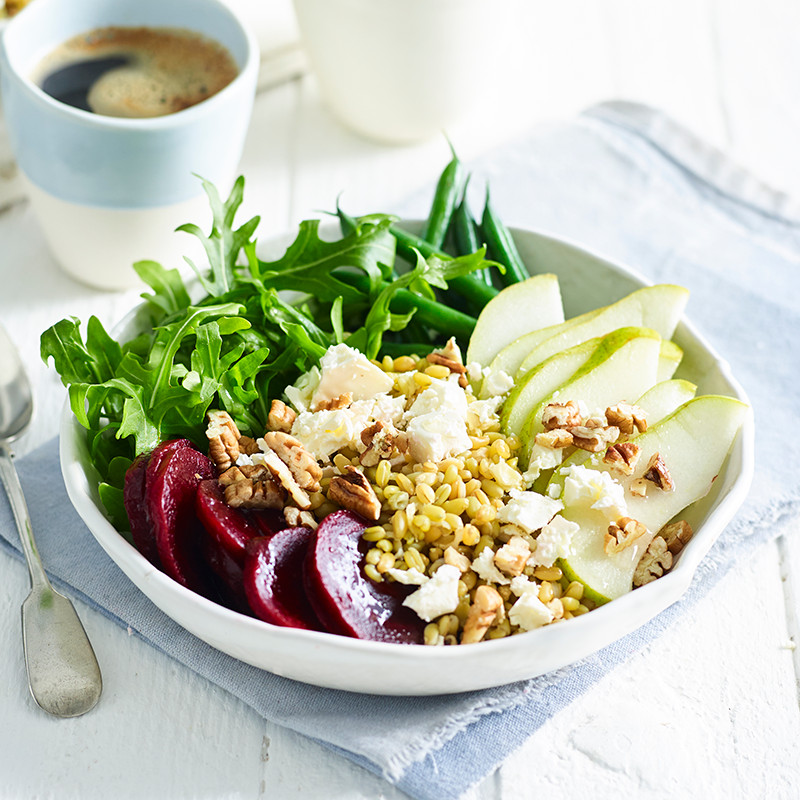 Photo of Freekeh, feta, pecan and pear bowl by WW