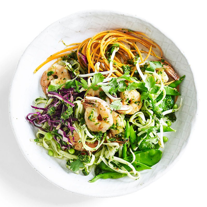 Photo of Warm noodle salad with coriander pesto and prawns by WW