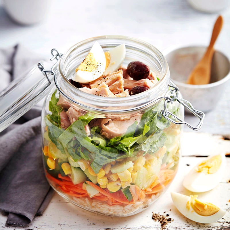 Photo of Brown rice and tuna salad in a jar by WW