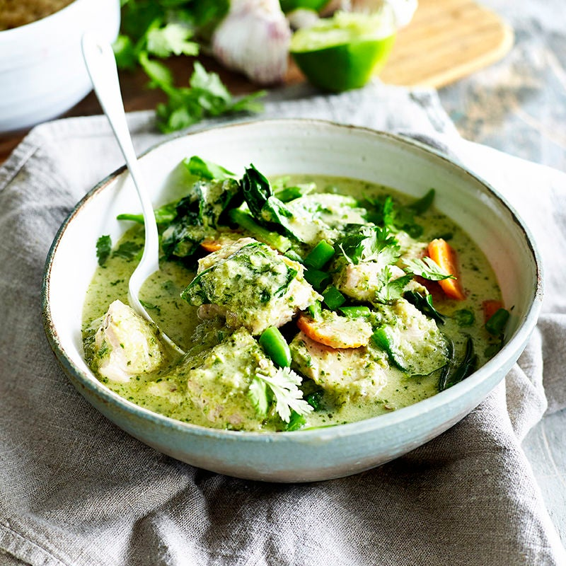 Photo of Green chicken and vegetable curry by WW