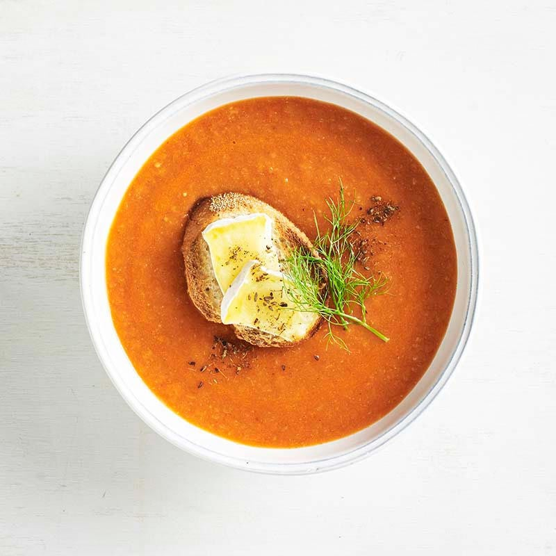 Photo of Roasted tomato, capsicum and fennel soup with brie toast by WW