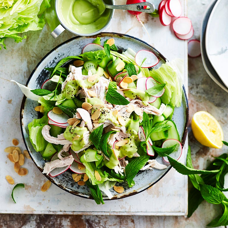 Photo of Chicken and iceberg lettuce salad with avocado dressing by WW