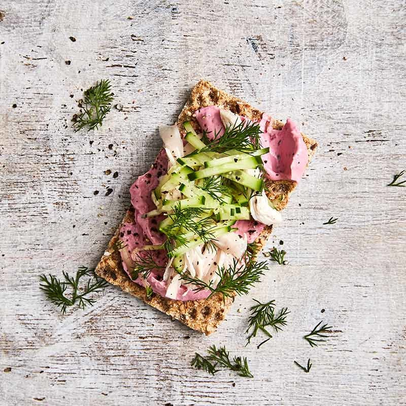 Photo of Crispbread topped with beetroot dip and chicken by WW