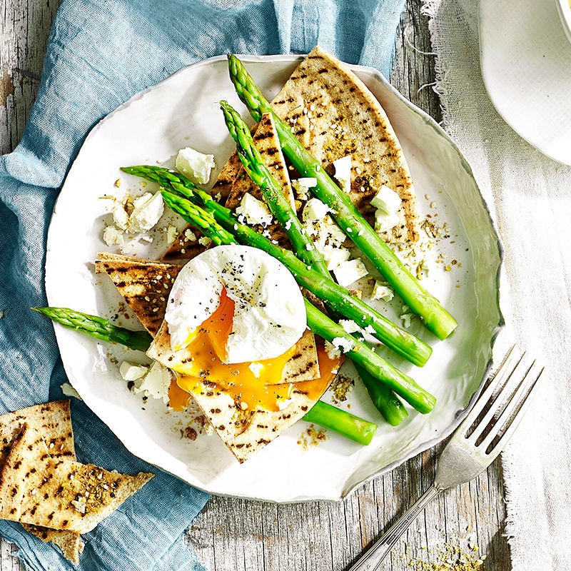 Photo of Asparagus with poached egg and dukkah crisps by WW
