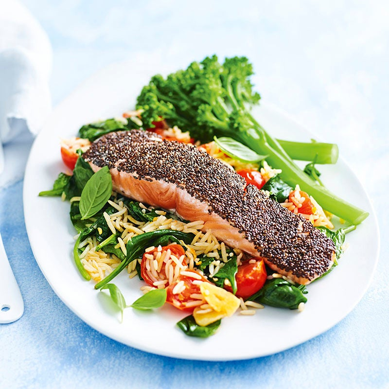 Photo of Chia-crusted salmon with tomato, basil and spinach rice by WW