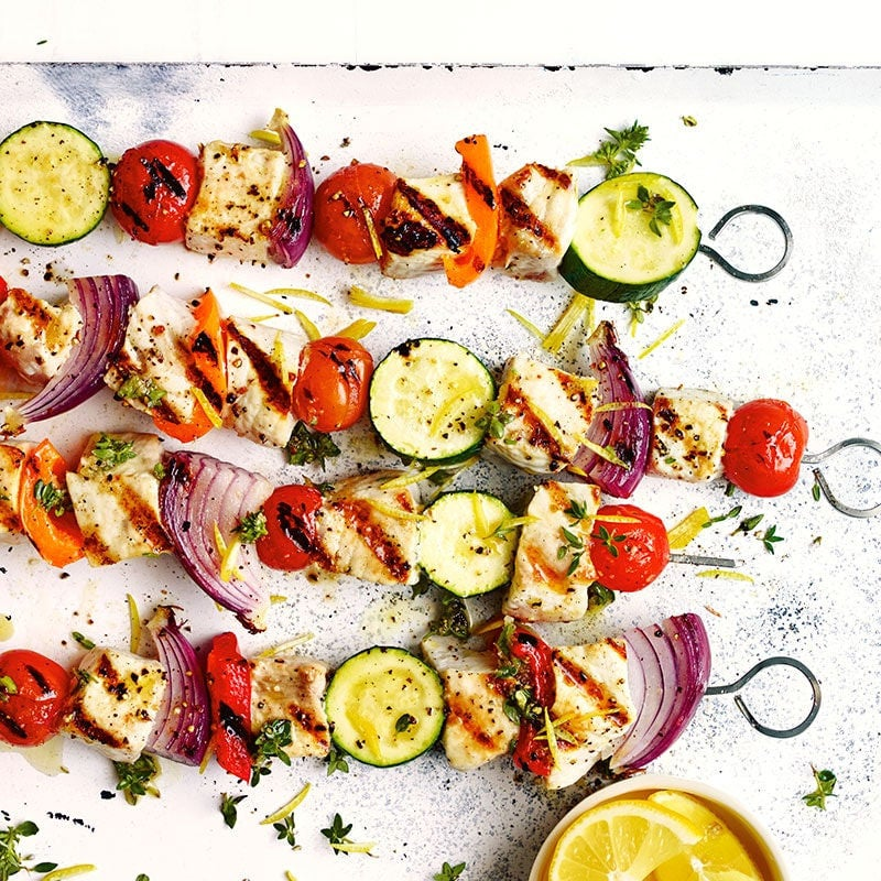 Photo of Grilled fish and vegetable kebabs by WW