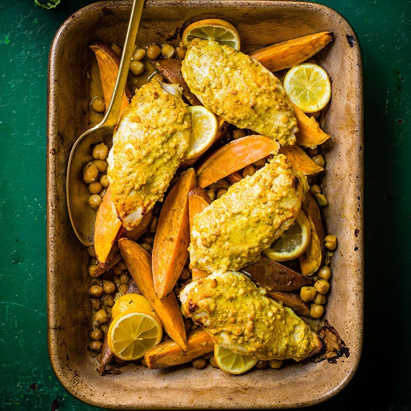 Photo of Curried chicken and sweet potato traybake by WW