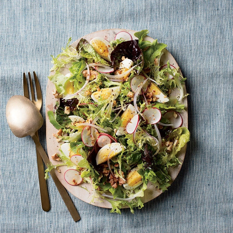 Photo of Baby greens salad with egg and walnuts by WW