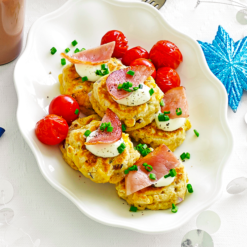 Photo of Corn fritters with crispy bacon and roasted cherry tomatoes by WW