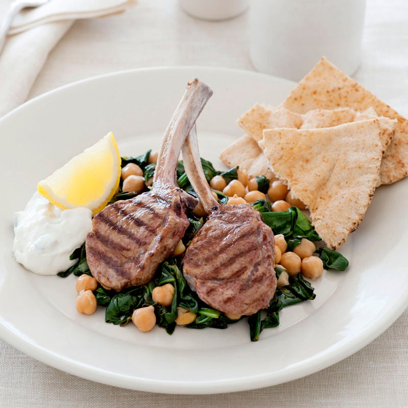 Photo of Grilled lamb with wilted spinach and chickpeas by WW