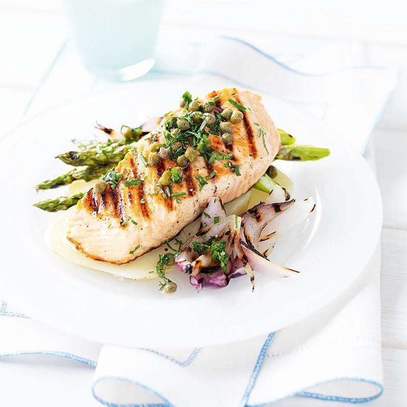 Photo of Seared salmon with caper and herb dressing by WW