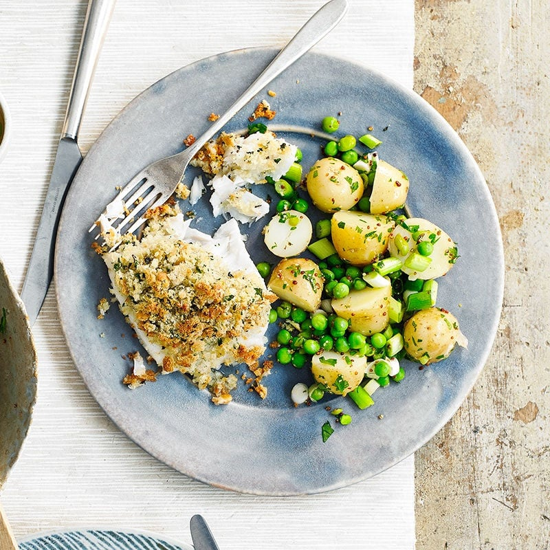 Photo of Crumbed fish with warm potato salad by WW